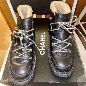 CHANEL Calfskin Sheep Shearling CC Lace Up Boots